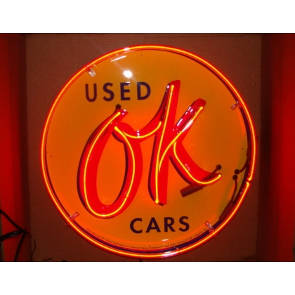 "Used OK Cars Neon Sign 25"" Full Canned"