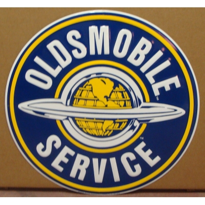 "24"" Round Oldsmobile Service Metal Embossed Sign"