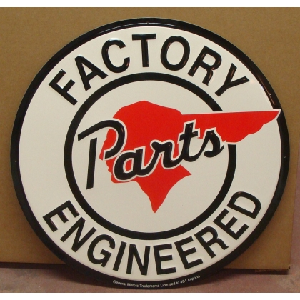 "24"" Round Pontiac Factory Engineered Parts Metal Embossed Sign"