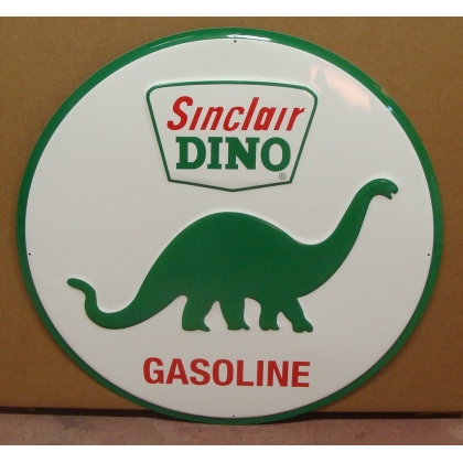 "24"" Round Sinclair Dino Metal Embossed Sign"