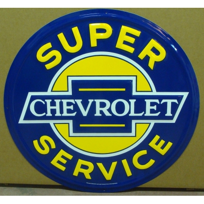 "24"" Round Super Chevrolet Service Metal Embossed Sign"