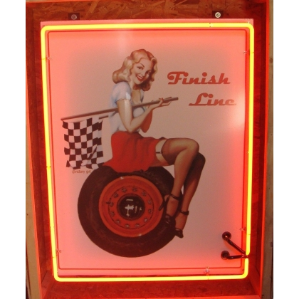4ft Full Can Victory Girl Finish Line Pinup Girl Neon Sign