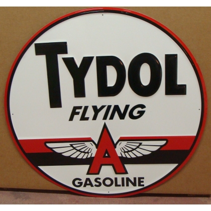 "24"" Round Tydol Flying A Metal Embossed Sign"