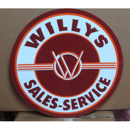 "24"" Round Willy's Sales Service Metal Embossed Sign"