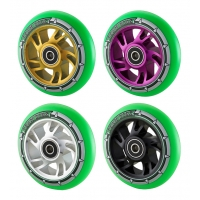 Pro 110mm Swirl Alloy Core Scooter Wheel - Green PU
