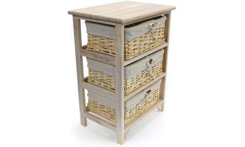 3 TIER DRAWERS WOODEN STORAGE CABINET RACK WICKER BASKETS BEDROOM UNIT FURNITURE