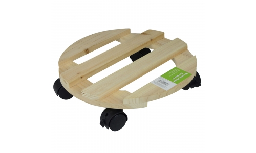 Gr8 Garden Wooden Round Flower Plant Pot Caddy Trolley Cart Mover Base Wheeled Holder Garden Patio Plate Castors With Wheels