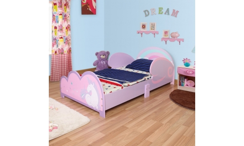 Wooden Unicorn Junior Toddler Cot Bed Frame Girls Princess Childrens Kids Purple