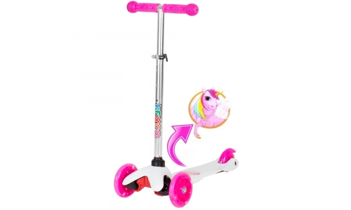 Rexco Unicorn Push Kick T Bar Girls Tilt And Turn Scooter Light Up 3 Wheels Toy