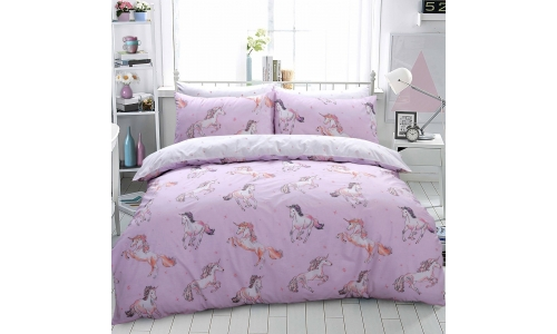 Luxury Paintly Unicorn Horse Pink Duvet Set Quilt Cover Pillowcase Girls Bedding