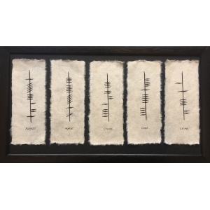 Ogham Five Name Family Plaque