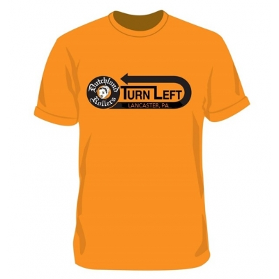 Turn Left design on Orange T-shirt, Adult Unisex Sizing