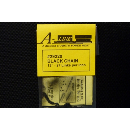 "A Line HO/Other Scales. Black chain 12"" - 27 links per inch"
