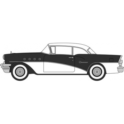 Oxford Diecast HO. 1955 Buick Century,Black & White