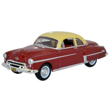 Oxford Diecast HO. 1950 Oldsmobile Rocket 88 coupe,Chariot red/Canto Cream