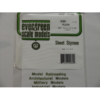 "Evergreen Scale Models. Plain White Styrene sheet 080"" thick 2.0mm 6"" x 12"" Pk 1"