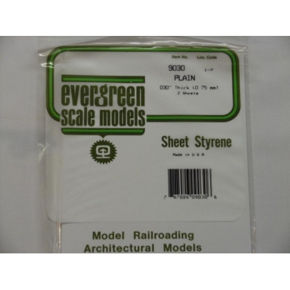 "Evergreen Scale Models. white styrene sheet 030""/0.75mm thick 6"" x 12"""