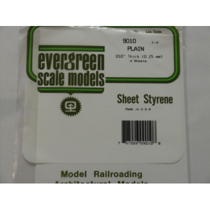 "Evergreen Scale Models. White Styrene Sheet 010""/0.25mm thick 6"" x 12"""