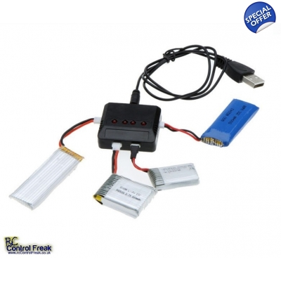 4 in 1 USB Battery Charger For Hubsan, WLtoys, MJX, Syma X5C, X5SC