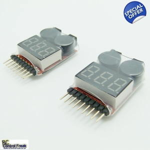 2x RC Lipo Battery Low Voltage Alarm Buzzer Indi..
