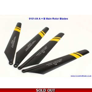 Double Horse 9101-04 A+B Main Rotor Blades - Black with Yellow Stripes