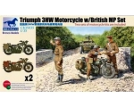 Bronco Triumph 3HW Motorcycle w/British MP Set 1..