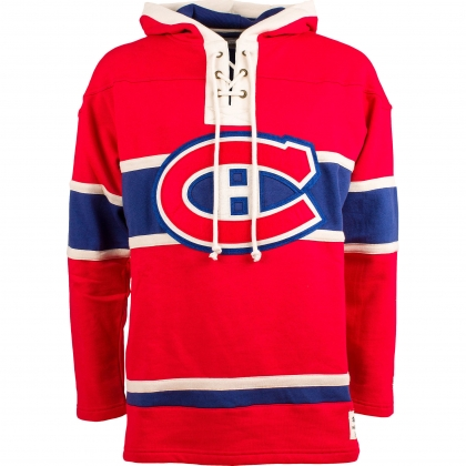 Montreal Canadiens Old Time Hockey Heavyweight Home Lace Hoodie Jersey