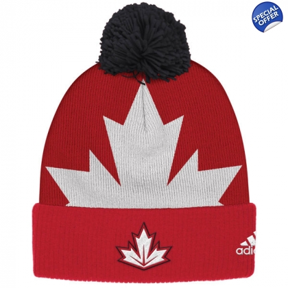 Canada Hockey adidas Red 2016 World Cup of Hockey Cuffed Pom Knit Hat
