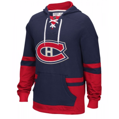 Montreal Canadiens CCM Vintage Lace Pullover Hoodie Navy