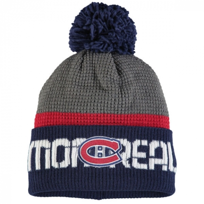 Montreal Canadiens Gray/Navy Center Ice Cuffed Knit Hat with Pom