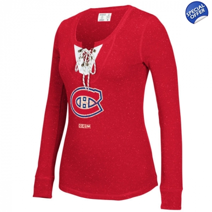Women's CCM Red Montreal Canadiens Lace-Up Henley Long Sleeve