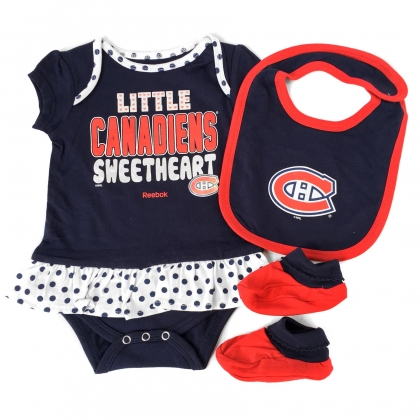 Montreal Canadiens Baby 3-pc Creeper Skirt Bib Bootie Set