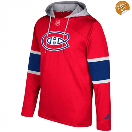 Men's Montreal Canadiens adidas Red Silver Jersey Pullover Hoodie
