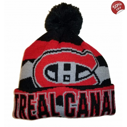 Youth Montreal Canadiens Tonal Cuffed Knit With Pom