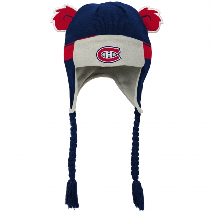 Montreal Canadiens Stripe Ears Trooper Knit Hat - Navy