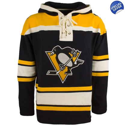 Pittsburgh Penguins Black Old Time Hockey Lace Up Jersey Hooded Sweatshirt 685c622b1