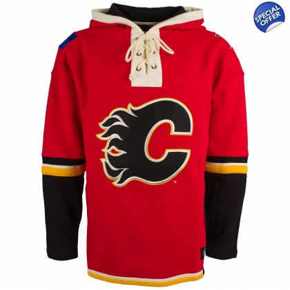 Calgary Flames 47 Brand Lace Up Jersey Hooded Sweatshirt