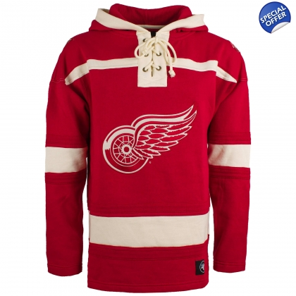 Detroit Red Wings Royal 47 Brand Lace Up Jersey Sweatshirt