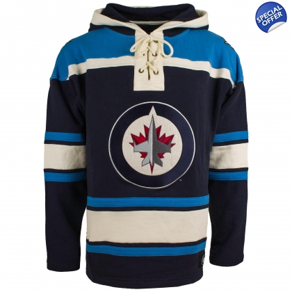 Winnipeg Jets Royal 47 Brand Lace Up Jersey Hooded Sweatshirt