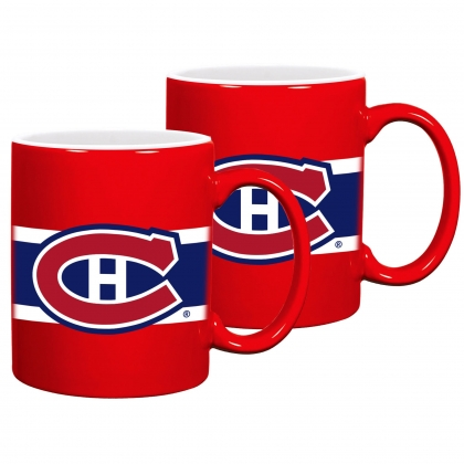 Montreal Canadiens Striped Ceramic Mug Set 2PK