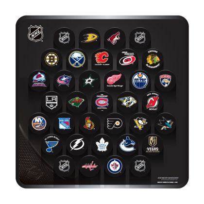 NHL Large Plaque with 31 Team Basic Logo Pucks