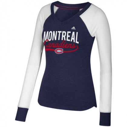 Womens Montreal Canadiens adidas Elbow Patch Long Sleeve V-Neck