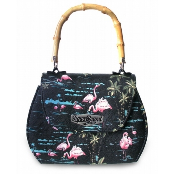 Flamingo Bamboo Handle Handbag