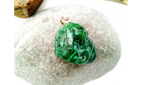Natural Freeform Malachite Sterling Silver Pendant