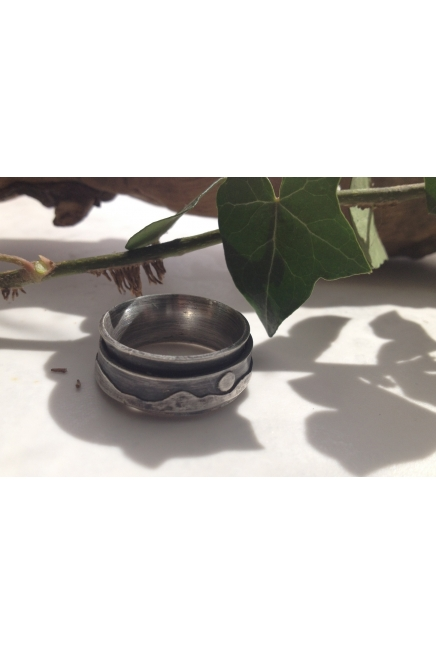 Sterling Silver Spin Ring, Kinaesthetic Ring, Mountains