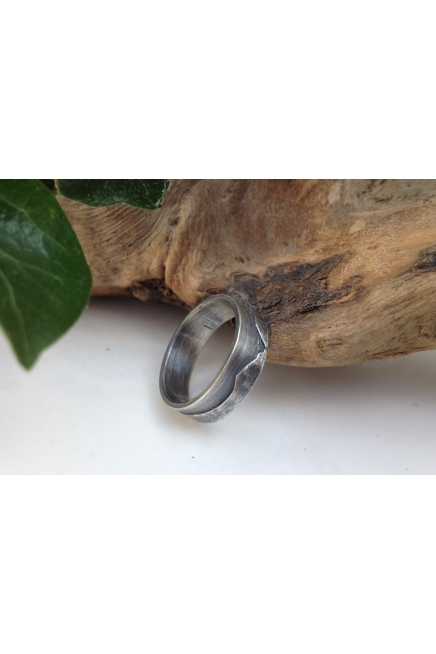 Sterling Silver 6mm Band Ring, Mountains Ring