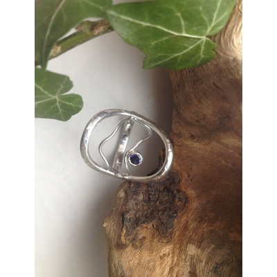 Sterling Silver Gemstone, Modern Style Ring, Skeleton Mountains