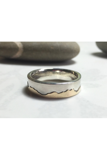 Heavy Sterling and 9K Gold wedding ring, 6mm