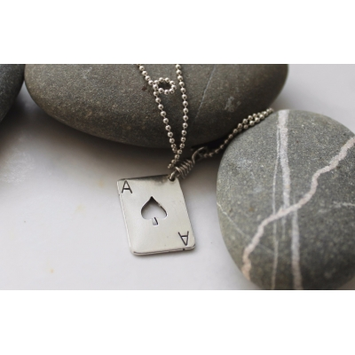 Sterling Silver Ace of Spades Pendant, Tattoo Collection