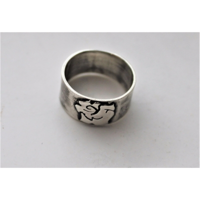 Tattoo Rose Wide Band Ring